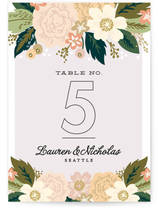 Classic Floral Table Numbers
