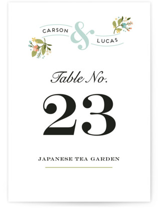 Floral Ampersand Table Numbers