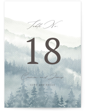 Over the mountains Table Numbers