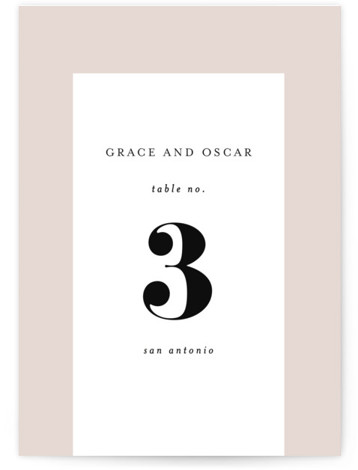 front and center Table Numbers