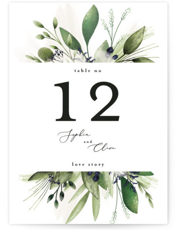 Greenery Banner Table Numbers