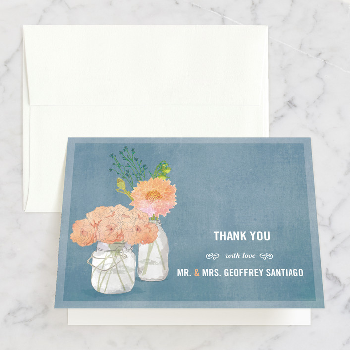 """""""Bouquet D'Amour"""" - Floral & Botanical, Hand Drawn Thank You Cards in Pacific Jade by Beth Ann."""