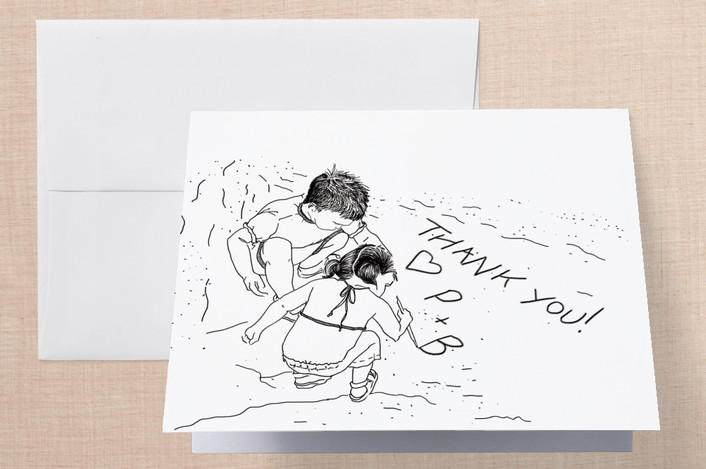 """Playing in the Sand"" - Hand Drawn, Whimsical & Funny Thank You Cards in Black by Rebecca Frantzis."