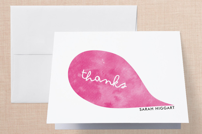 """Think Pink"" - Whimsical & Funny, Modern Thank You Cards in Pink by Becca Thongkham."