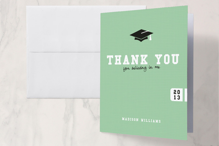 """Fancy that Grad Hat"" - Classical Thank You Cards in Seafoam by Serenity Avenue."