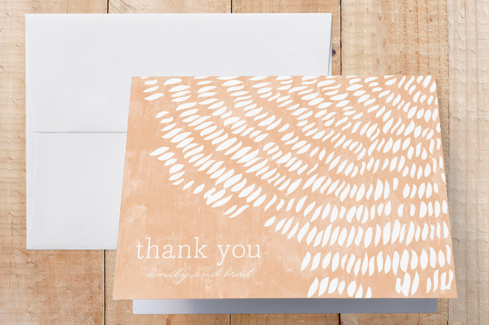 """Shells"" - Rustic, Beach Thank You Cards in Pink Coral by SimpleTe Design."