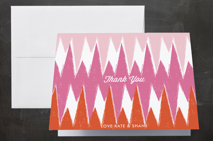 """""""Happy Ikat"""" - Modern, Hand Drawn Thank You Cards in Magenta by Monica Schafer."""