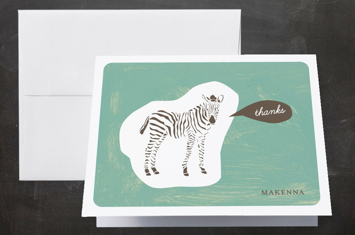 """""""Zebra Cutout"""" - Whimsical & Funny Thank You Cards in Ocean by trbdesign."""