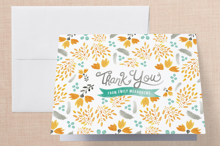 """""""Blooms & Plumes"""" - Floral & Botanical, Vintage Thank You Cards in Marigold by Olivia Raufman."""