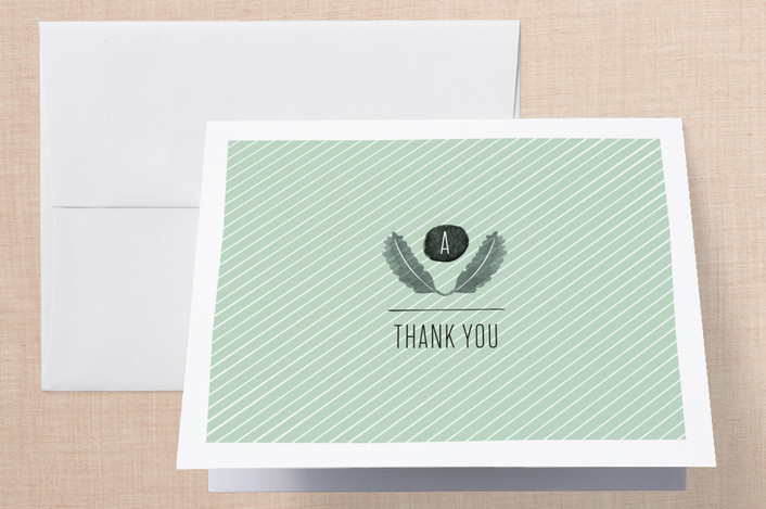 """""""Feathered Monogram"""" - Modern, Hand Drawn Thank You Cards in Mist by Olivia Raufman."""