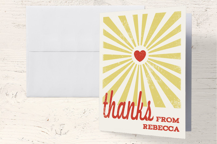 """""""Heart Rays"""" - Vintage, Bold typographic Thank You Cards in Yellow by Tami Bohn."""