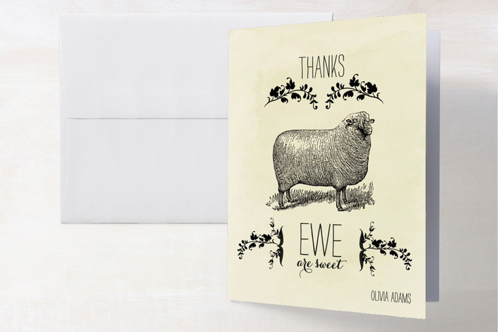 """Ewe are Sweet"" - Whimsical & Funny, Hand Drawn Thank You Cards in Buuter by Noah and Olivia."
