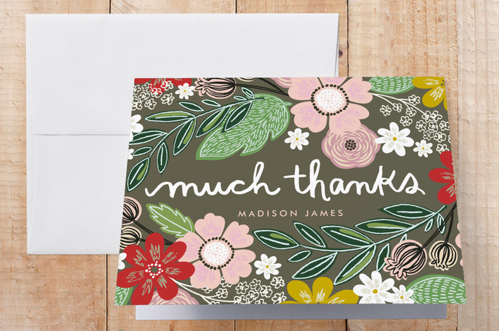 """""""Woodland Thanks"""" - Floral & Botanical Thank You Cards in Brown by Alethea and Ruth."""