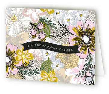 Flower Sketch Thank You Cards