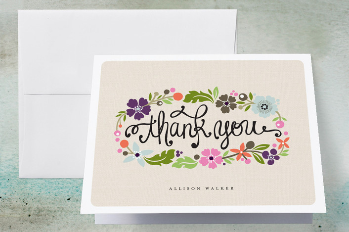"""""""Daisy Chain"""" - Floral & Botanical, Modern Thank You Cards in Blush by Alethea and Ruth."""