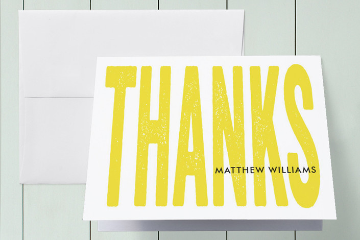 """""""Big Thanks"""" - Modern, Bold typographic Thank You Cards in Lemon by Anna Elder."""