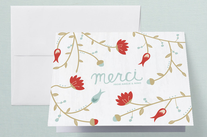 """Beaucoup de Fleurs"" - Floral & Botanical Thank You Cards in Vermillion by carly reed walker."
