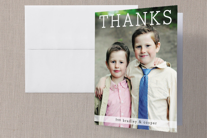 """""""Thanks from the Boys"""" - Modern Thank You Cards in White by Christina Novak."""