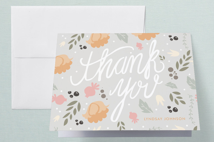 """""""Southern Hospitality"""" - Floral & Botanical Thank You Cards in Grey by Courtnie Johnson."""