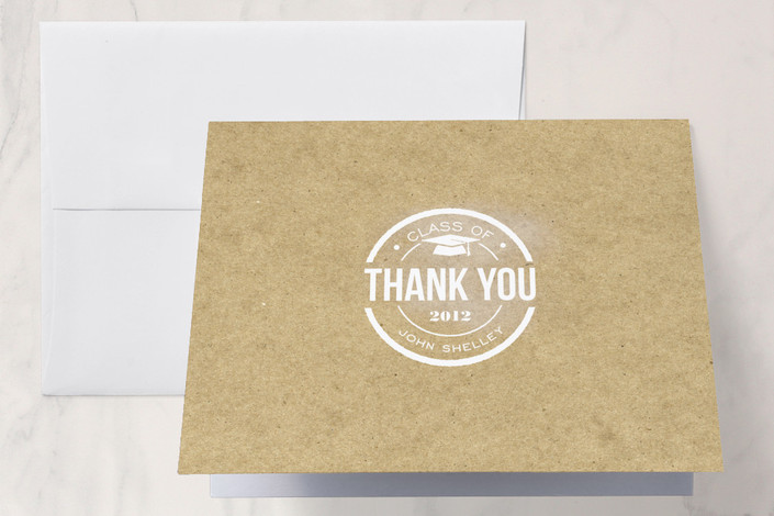 """""""Simple Graduate"""" - Classical, Formal Thank You Cards in Kraft by Courtnie Johnson."""