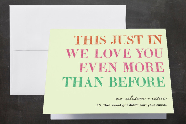 """You in or What"" - Bold typographic, Whimsical & Funny Thank You Cards in Bubblegum by hi-lighter inc.."