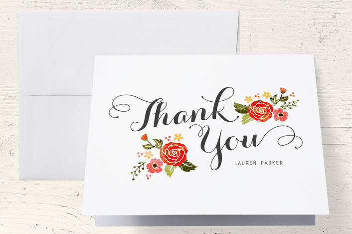 """Bouquet"" - Floral & Botanical, Whimsical & Funny Thank You Cards in Red by Coco and Ellie Design."