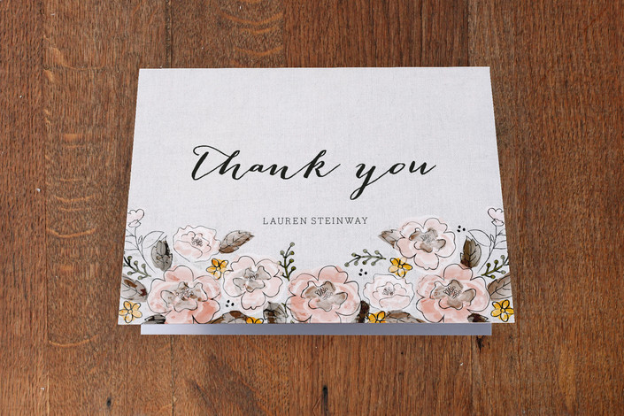 """""""Garden Rose"""" - Floral & Botanical Thank You Cards in Buttercup by Coco and Ellie Design."""