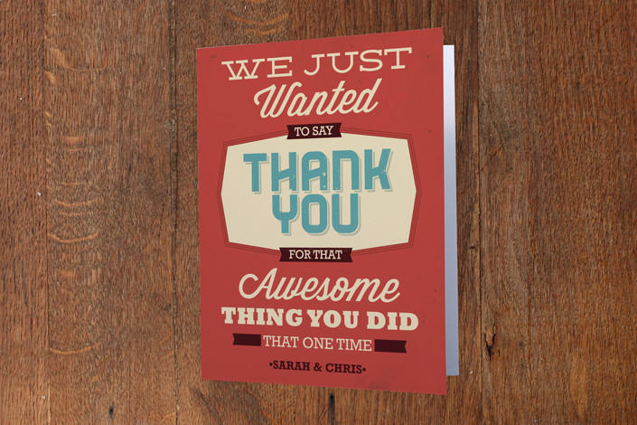 """""""Thanks for the Thing"""" - Whimsical & Funny, Vintage Thank You Cards in Tangerine by GeekInk Design."""