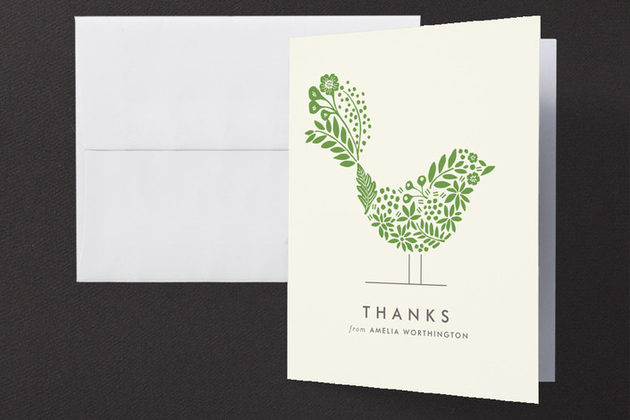 """Floral Fringe"" - Floral & Botanical, Modern Thank You Cards in Ivy by Griffinbell Paper Co.."