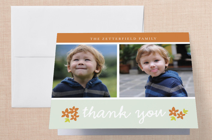 """""""Simple Greetings"""" - Vintage, Classical Thank You Cards in Green by Snow and Ivy."""