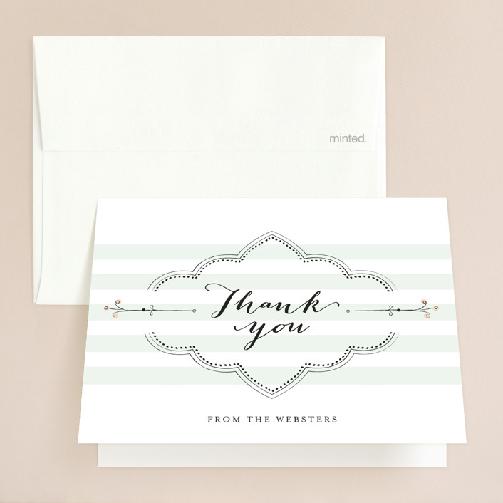 """Striped Sweet Nothings"" - Vintage, Beach Thank You Cards in Romantic by Frooted Design."