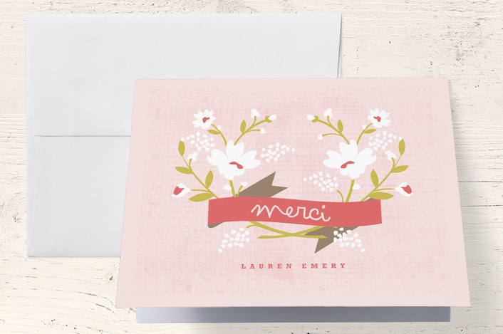 """Merci Banner"" - Floral & Botanical, Whimsical & Funny Thank You Cards in Persimmon by Kristie Kern."