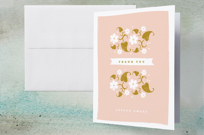 """Country Garden"" - Floral & Botanical, Whimsical & Funny Thank You Cards in Tea Rose by Kristie Kern."