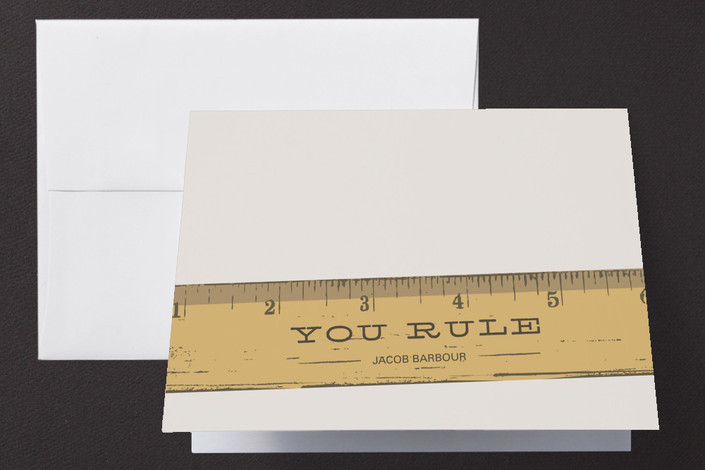 """You Rule"" - Whimsical & Funny Thank You Cards in Warm Grey by Laura Condouris."