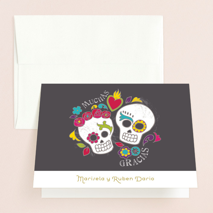 """Dia de los Muertos"" - Whimsical & Funny, Modern Thank You Cards in Slate by Inky Livie."