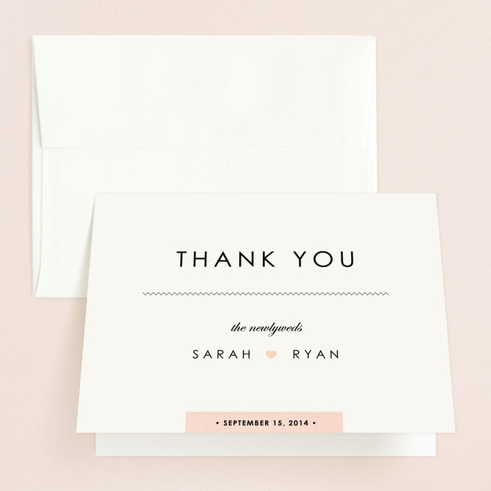"""""""Linen Stitch"""" - Modern, Simple Thank You Cards in Rose by Stacey Meacham."""
