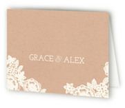 Lace and Kraft Folded Thank You Card