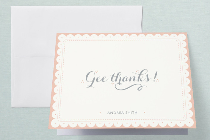 """""""Gee Thanks"""" - Whimsical & Funny, Vintage Thank You Cards in Peach by Olive and Violet."""