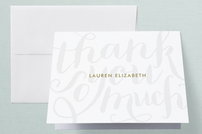 """""""Chic Grafitti"""" - Preppy, Whimsical & Funny Thank You Cards in Gold by Lauren Chism."""