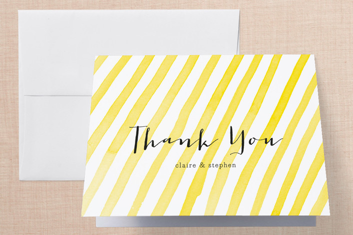 """Stripey"" - Modern, Hand Drawn Thank You Cards in Yellow by Paper Dahlia."