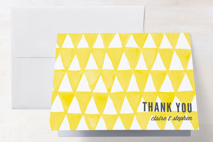 """""""Triangular"""" - Modern Thank You Cards in Lemon by Paper Dahlia."""