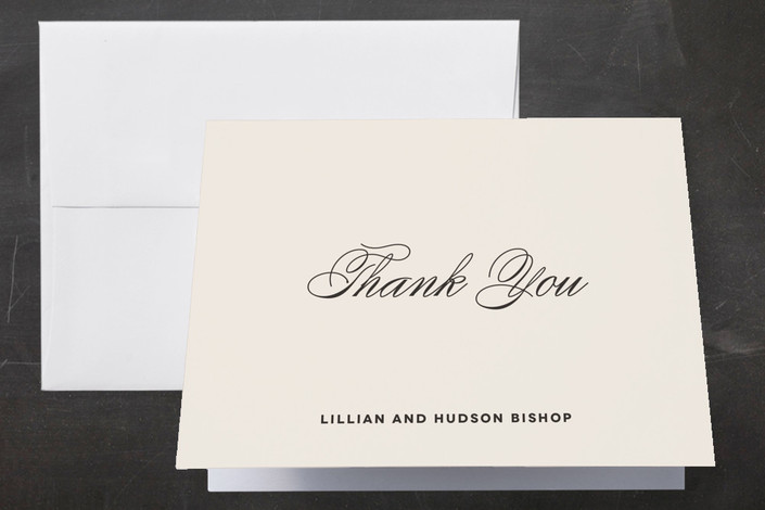 """Doux Amour"" - Elegant, Vintage Thank You Cards in Ivory by Olivia Raufman."