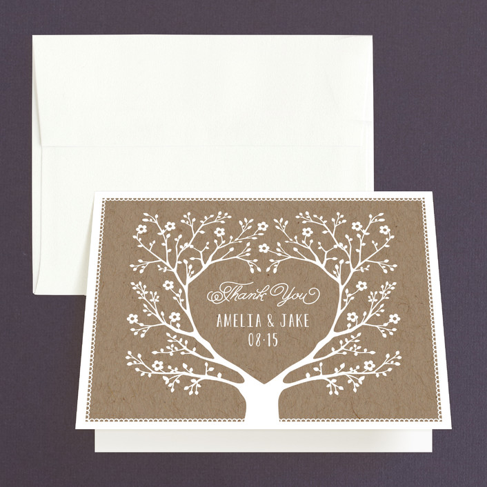 """""""Kraft Woodland Tree"""" - Rustic Thank You Cards in Buckwheat by Coco and Ellie Design."""