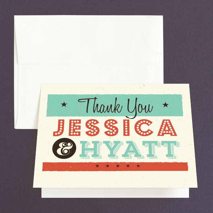 """MidCentury Poster Board"" - Thank You Cards in Tangerine by Coco and Ellie Design."