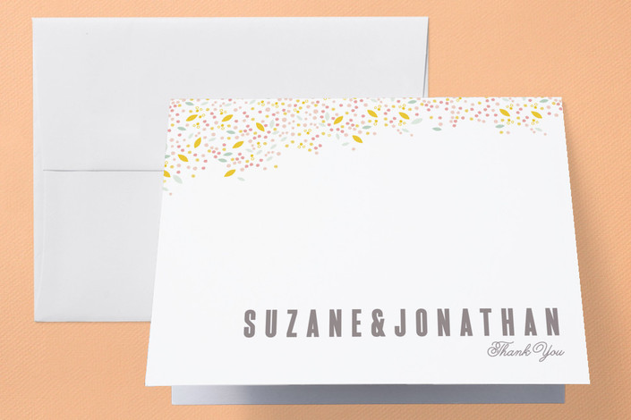 """""""Modern Dotted Blooms"""" - Floral & Botanical, Simple Thank You Cards in Cotton Candy by Phrosne Ras."""