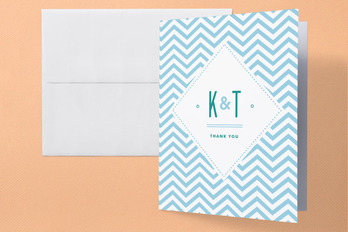 """""""Before & After"""" - Modern, Beach Thank You Cards in Ocean Blue by Jennifer Wick."""