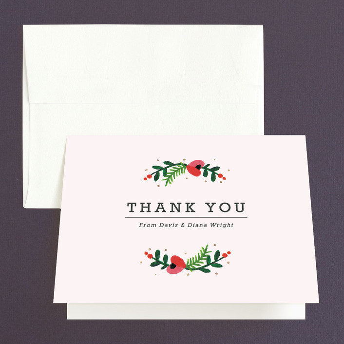 """Simple Flora"" - Floral & Botanical Thank You Cards in Powder by Kristen Smith."