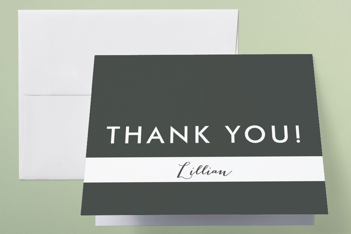 """Lattice"" - Thank You Cards in Charcoal by Marabou Design."
