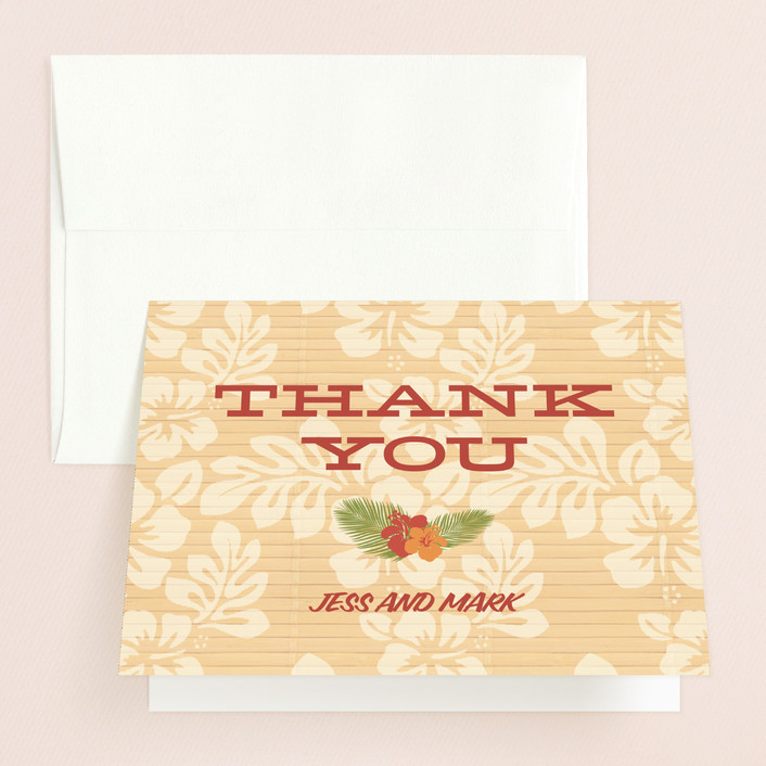 """Tiki Luau"" - Thank You Cards in Sunset Red by Designkandy."
