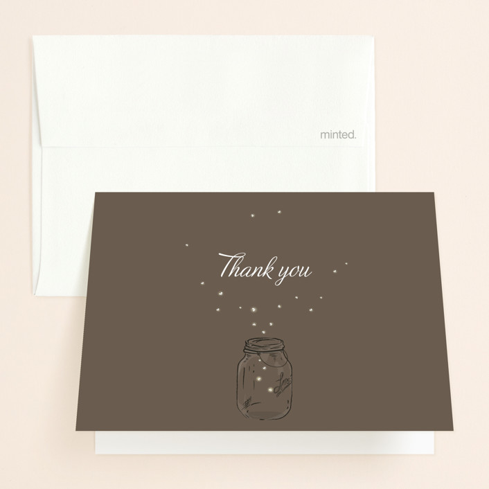 """""""Fireflies"""" - Thank You Cards in Zuni Brown by cadence paige design."""